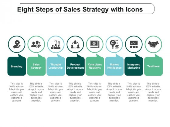 Eight Steps Of Sales Strategy With Icons Ppt Powerpoint Presentation Icon Graphics