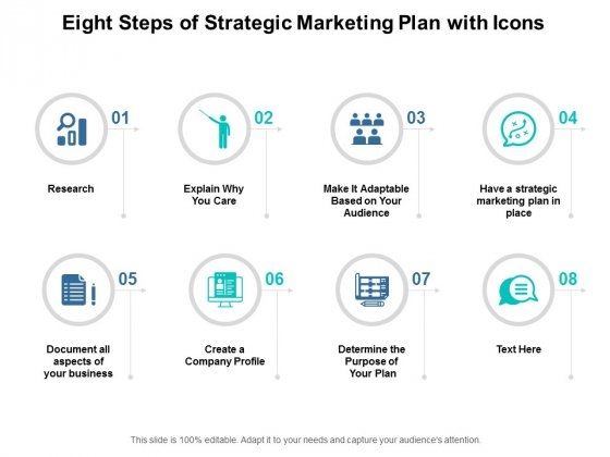 Eight Steps Of Strategic Marketing Plan With Icons Ppt Powerpoint Presentation Ideas Background Images