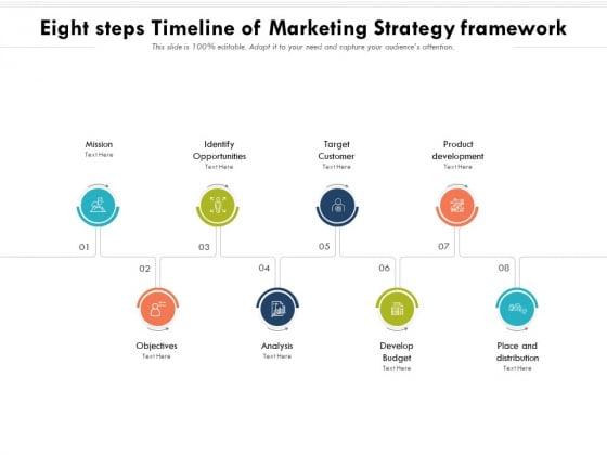 Eight Steps Timeline Of Marketing Strategy Framework Ppt PowerPoint Presentation File Templates PDF