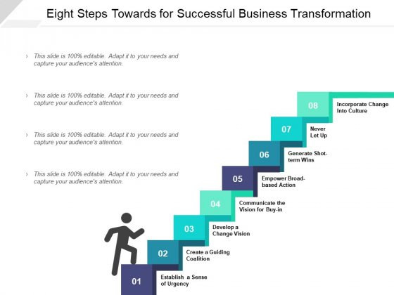 Eight Steps Towards For Successful Business Transformation Ppt PowerPoint Presentation Inspiration Files