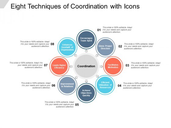 Eight Techniques Of Coordination With Icons Ppt Powerpoint Presentation Icon Inspiration