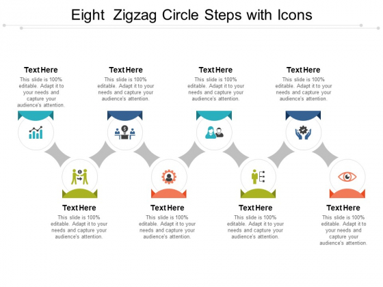 Eight Zigzag Circle Steps With Icons Ppt PowerPoint Presentation Gallery Vector