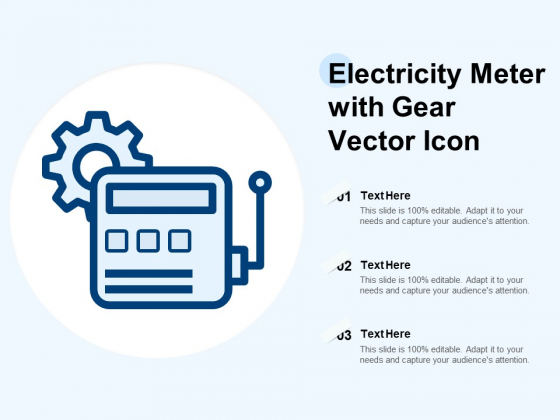 Electricity Meter With Gear Vector Icon Ppt PowerPoint Presentation File Icons PDF