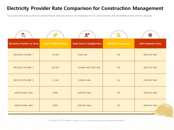 Electricity Provider Rate Comparison For Construction Management Work Introduction PDF