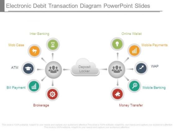 Electronic Debit Transaction Diagram Powerpoint Slides