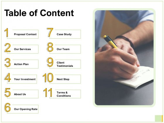 Electronic Mail Proposal Table Of Content Ppt Layouts Icon PDF