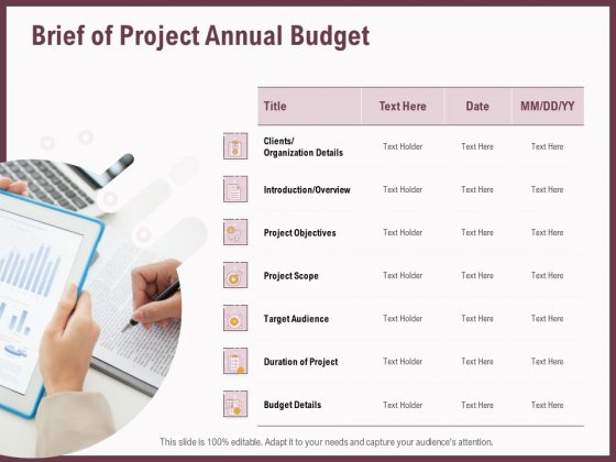 Elements Brief Of Project Annual Budget Ppt Pictures Graphic Images PDF