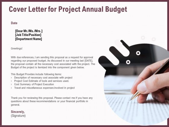 Elements Cover Letter For Project Annual Budget Ppt Slide PDF