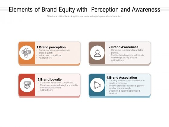 Elements Of Brand Equity With Perception And Awareness Ppt PowerPoint Presentation Inspiration Guide PDF