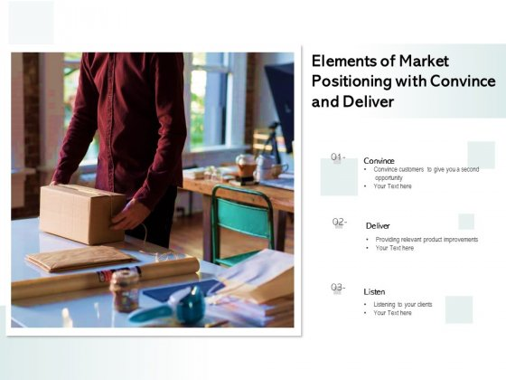 Elements Of Market Positioning With Convince And Deliver Ppt PowerPoint Presentation Inspiration Topics PDF