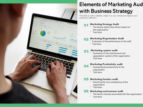 Elements Of Marketing Audit With Business Strategy Ppt PowerPoint Presentation File Files PDF