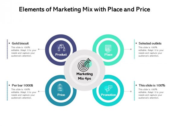 Elements Of Marketing Mix With Place And Price Ppt PowerPoint Presentation Inspiration Example Topics PDF