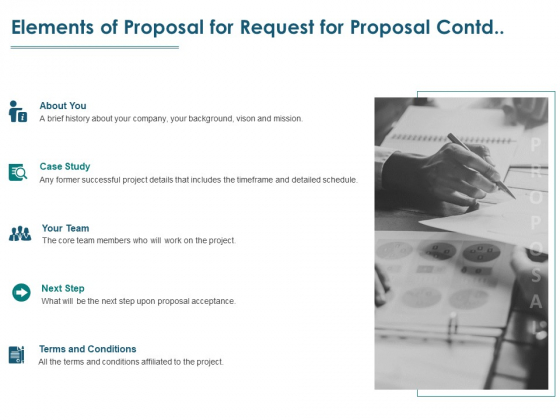 Elements Of Proposal For Request For Proposal Contd Ppt PowerPoint Presentation Portfolio Shapes
