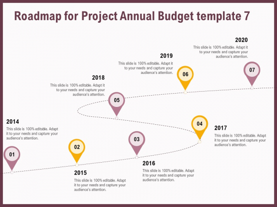 Elements Roadmap For Project Annual Budget 2014 To 2020 Ppt Diagram Templates PDF