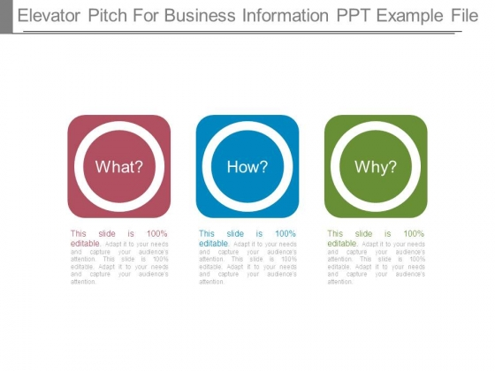Elevator Pitch For Business Information Ppt Example File