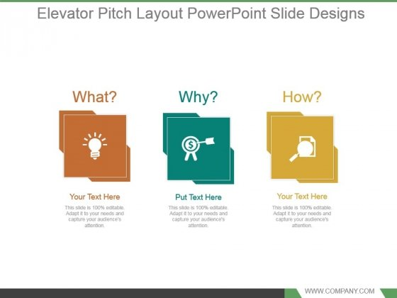 Elevator Pitch Layout Powerpoint Slide Designs