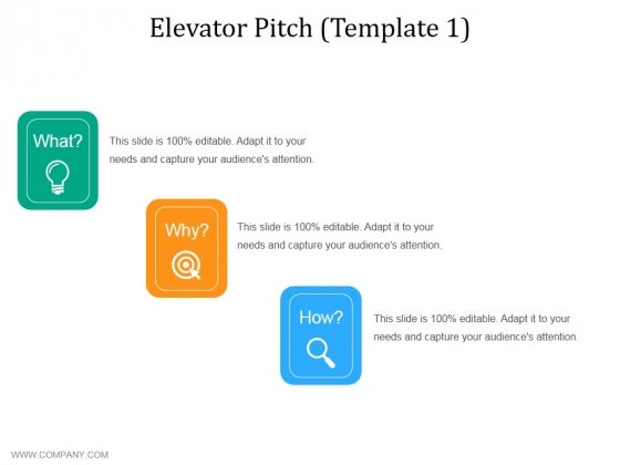 Elevator Pitch Template 1 Ppt PowerPoint Presentation Diagram Graph Charts