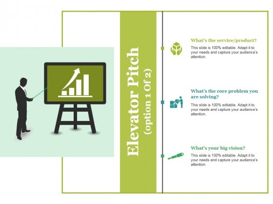 Elevator Pitch Template 1 Ppt PowerPoint Presentation Infographics Example Topics