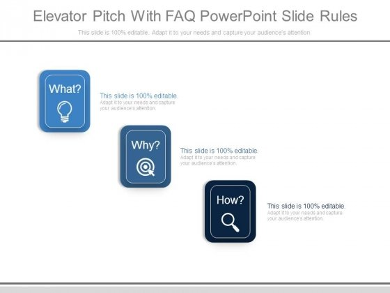 Elevator Pitch With Faq Powerpoint Slide Rules