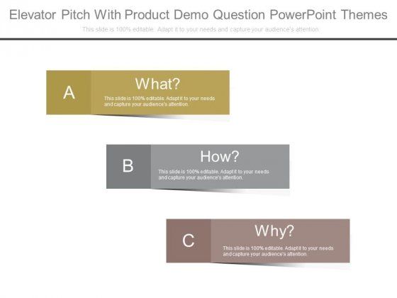 Elevator Pitch With Product Demo Question Powerpoint Themes