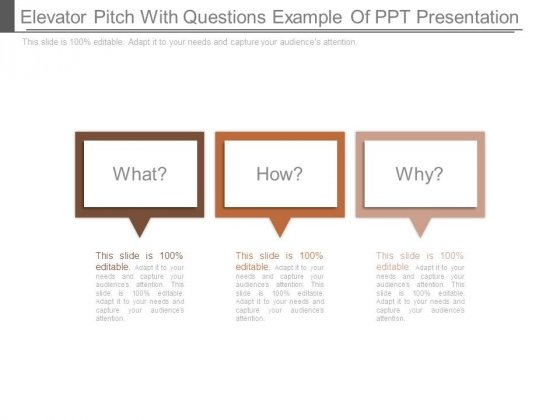 Elevator Pitch With Questions Example Of Ppt Presentation