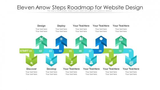 Eleven Arrow Steps Roadmap For Website Design Ppt PowerPoint Presentation File Template PDF