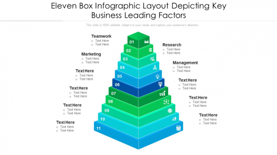 Eleven Box Infographic Layout Depicting Key Business Leading Factors Ppt PowerPoint Presentation Icon Model PDF