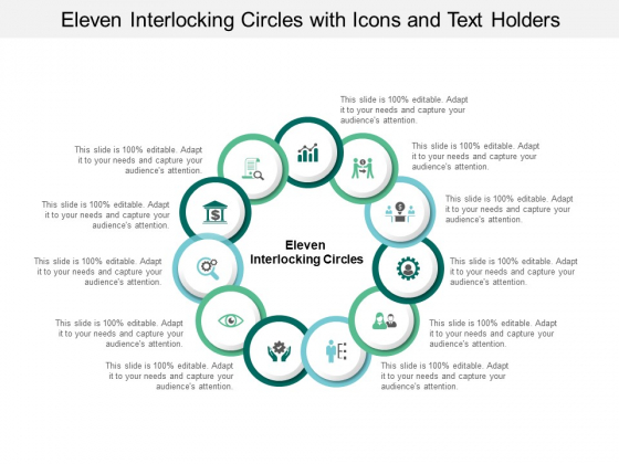 Eleven Interlocking Circles With Icons And Text Holders Ppt PowerPoint Presentation Outline Master Slide