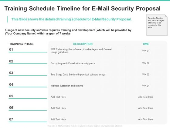 Email Security Encryption And Data Loss Prevention Training Schedule Timeline For E Mail Security Proposal Diagrams PDF