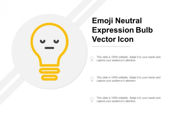 Emoji Neutral Expression Bulb Vector Icon Ppt PowerPoint Presentation Model Graphics