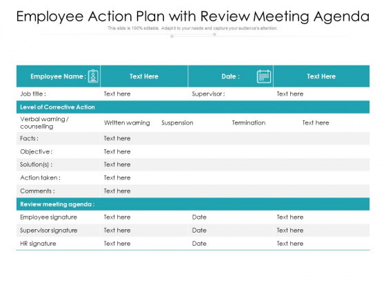 Employee Action Plan With Review Meeting Agenda Ppt PowerPoint Presentation Inspiration Rules PDF