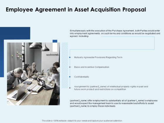 Employee Agreement In Asset Acquisition Proposal Ppt PowerPoint Presentation Ideas Show