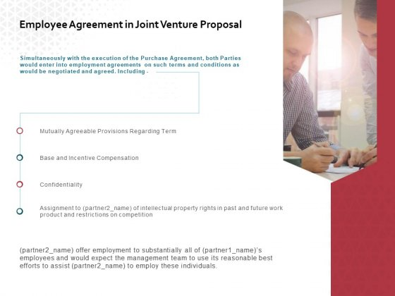Employee Agreement In Joint Venture Proposal Ppt PowerPoint Presentation Gallery Model