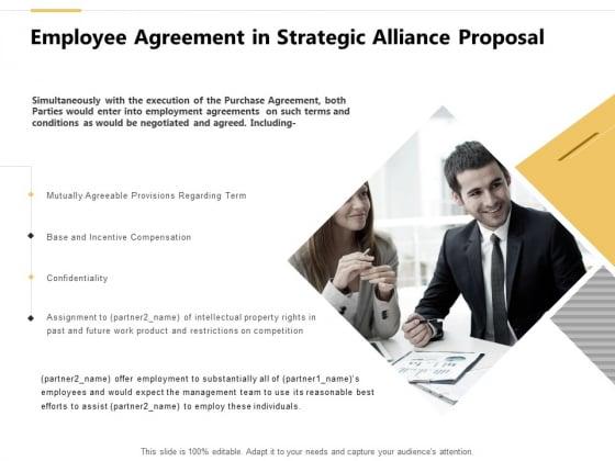 Employee Agreement In Strategic Alliance Proposal Ppt PowerPoint Presentation Slides Icon