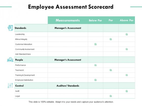 Employee Assessment Scorecard Ppt PowerPoint Presentation Styles Diagrams