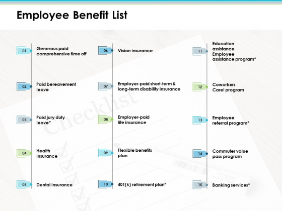 Employee Benefit List Employee Value Proposition Ppt PowerPoint Presentation Inspiration Layouts