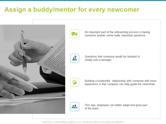 Employee Engagement Activities Company Success Assign A Buddy Mentor For Every Newcomer Introduction PDF