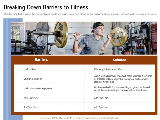 Employee Health And Fitness Program Breaking Down Barriers To Fitness Elements PDF