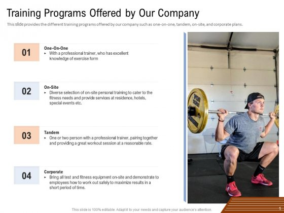 Employee Health And Fitness Program Training Programs Offered By Our Company Demonstration PDF