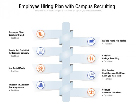 Employee Hiring Plan With Campus Recruiting Ppt PowerPoint Presentation Pictures Slideshow
