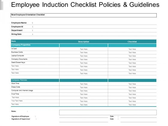 Employee Induction Checklist Policies And Guidelines Ppt PowerPoint Presentation Slides Mockup