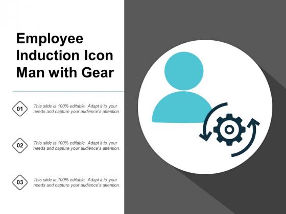 Employee Induction Icon Man With Gear Ppt PowerPoint Presentation Portfolio Design Ideas