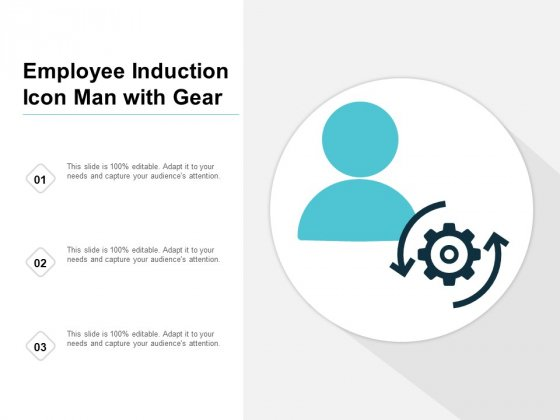 Employee Induction Icon Man With Gear Ppt PowerPoint Presentation Slides Introduction