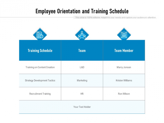 Employee Orientation And Training Schedule Ppt PowerPoint Presentation Ideas Graphics Pictures PDF