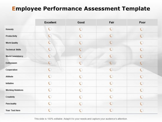 Employee Performance Assessment Template Ppt PowerPoint Presentation Inspiration Outfit