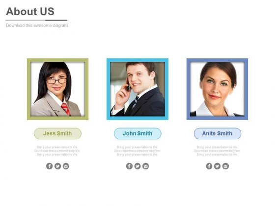 Employee Profiles For About Us Page Powerpoint Slides