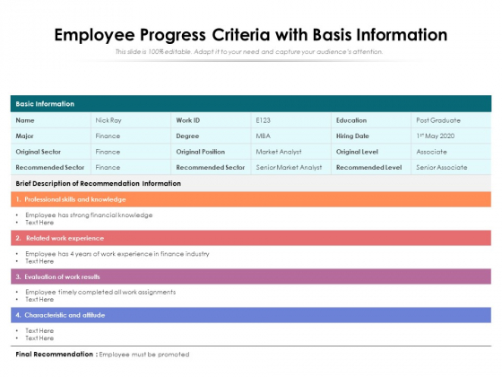 Employee Progress Criteria With Basis Information Ppt PowerPoint Presentation Gallery Example PDF