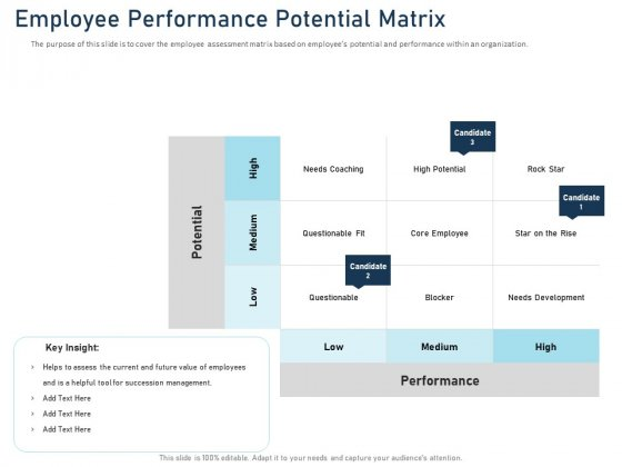 Employee Recognition Award Employee Performance Potential Matrix Ppt PowerPoint Presentation Outline Gallery PDF