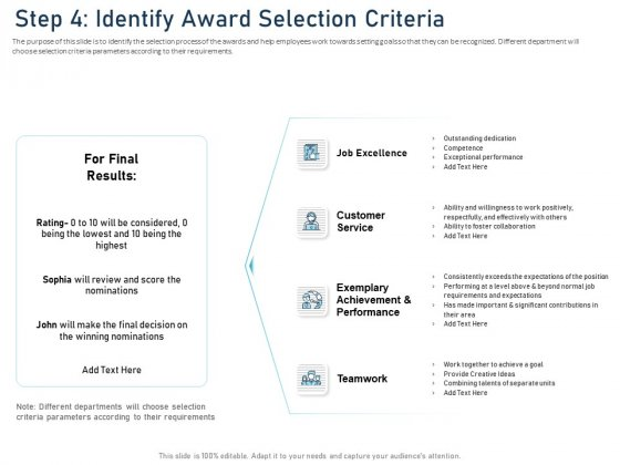 Employee Recognition Award Step 4 Identify Award Selection Criteria Ppt PowerPoint Presentation Infographic Template Ideas PDF
