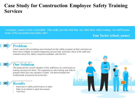 Employee Safety Health Training Program Case Study For Construction Employee Training Services Introduction PDF